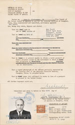 This document, issued by the US Consul in Shanghai, confirms that Max Mandl has been declared stateless.