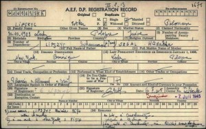 Esther Lipszyc D.P. Registration Record