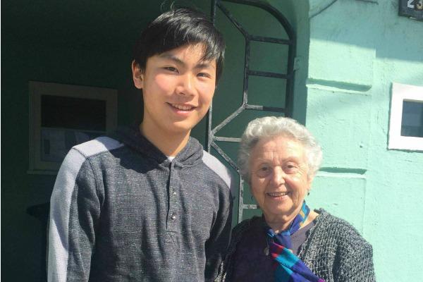 Joshua and AnneMarie, survivor of the Holocaust