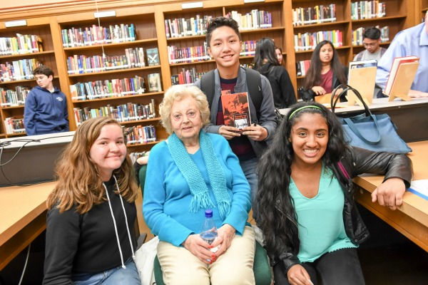 Holocaust Survivor Helen with students at the Day of Learning