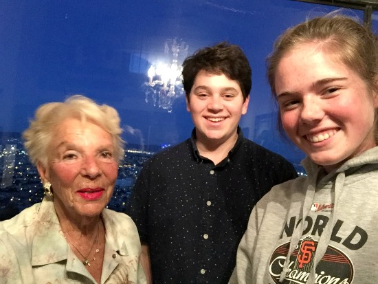 Holocaust survivor Sonia with students Ari and Eloise