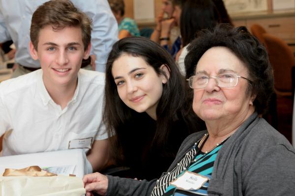 Holocaust survivor Stella with students Leet and Ella