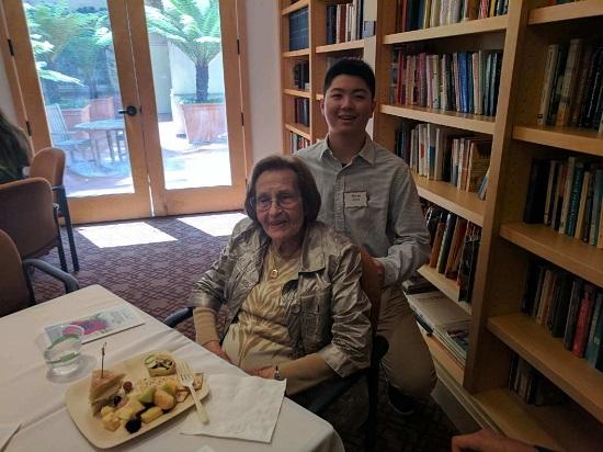 Holocaust survivor Lenci Farkas with student Byron Zhang
