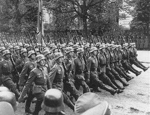 German troops parade through Warsaw