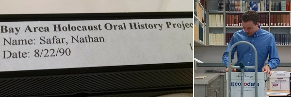 Oral history VHS tape and intern