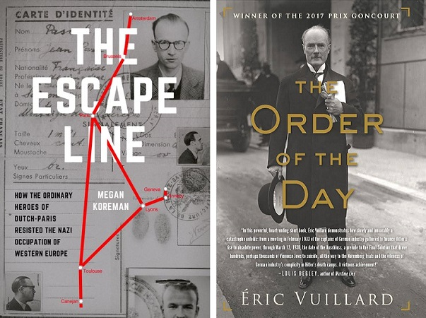 "Book covers for ""The Escape Line"" and ""The Order of the Day"""
